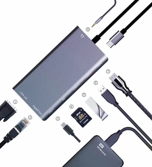 USB C 8-IN-1 Adapter HUB Type-C to 3.5mm AUX, USB 3.0, 4K HDMI, PD Charging, SD/TF Reader AT21300 Laptop Accessory, USB Hub (Grey) In Nairobi Kenya