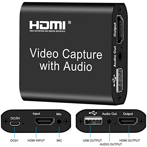 4k HDMI Capture Device with Loop Out, HD 1080P 60FPS for Live Streaming Broadcasting Video Recording for PS3/4, Xbox One & Xbox 360, Switch, DSLR, Camcorders Media Streaming Device (Black) in Nairobi Kenya